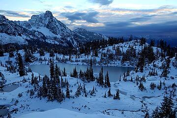 Lila Lake frozen in the dawn light.