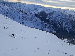 Skiing down the southwest slopes of West Craggy