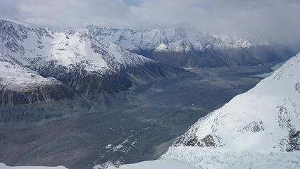 Looking down the Tasman Glacier from the hut
