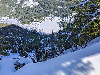 View down cliffs to lower Granite Lake from Dirty Harry summit