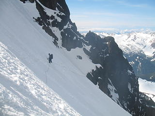 Sean traversing across the first bowl on our second attempt.