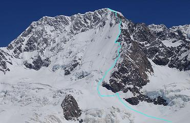 Our route up Mount Cook; notice all the leftward traverses