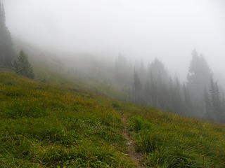 entering the upper meadows on the way to the pass in the clouds.... better get to camp fast, its getting dark!