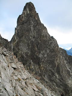 The summit tower as seen from the notch in the Ridge of Gendarmes.