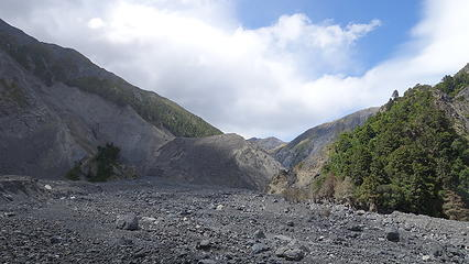 The 300 foot high landslide wall seen in center of the photo