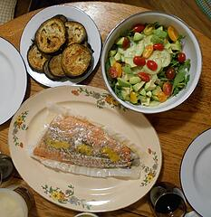 wild coho filet with roasted eggplant and salad 102620