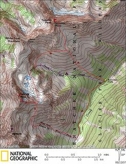 Tupshin & Devore summit map.  Red line is our route.  Purple line is standard route up Bird Creek.