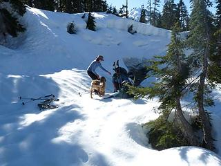 Barbara hauling Jim K out of the creek - Gus supervising
