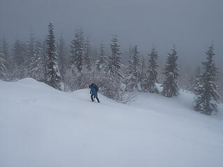 Remaining in the clouds on nice snow for snowshoeing . . .