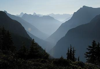 Early morning view down Little Beaver valley toward Hozomeen peaks