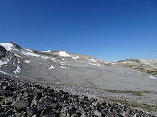 Broad moraine debris, summit out of view to left