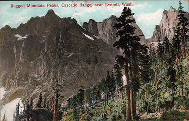 [i:79c837b011]Rugged Mountain Peaks, Cascade Range, near Everett, Wash.[/i:79c837b011] Mailed Oct 11, 1909.