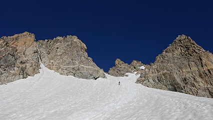 Looking up the final steeper snow to the notch