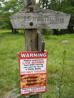 Not the friendliest trail sign :-)