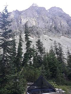 My Thunder Basin camp, a ridge of Buckner Mountain looms above