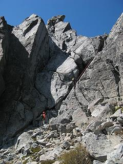 Wide area and south side gully, on descent