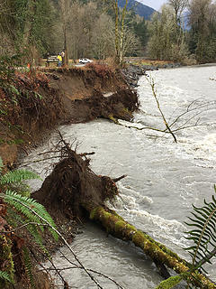 Flood damage to river bank near Madison Falls parking area. 112818 NPS Photo