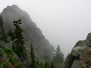 Spire on west summit in the fog