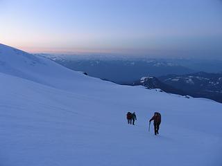 Ascending the lower Easton Glacier