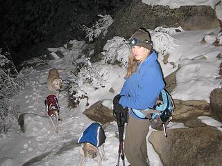 Babe and her doggie entourage