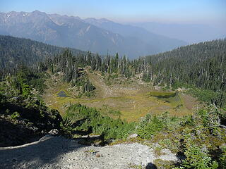 """view of the basin below Dodger Point (from the """"upper meadow"""" campsite where the NPS crew had been staged)"""