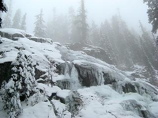 Misty Frozen Waterfall
