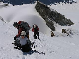 Shedding layers (10,400 ft) as we work up the steep final slopes above Sherman Crater