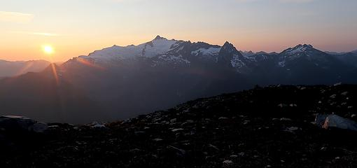 Sun setting beside Shuksan