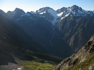 The Middle Cascade River valley and Mt. Formidable.