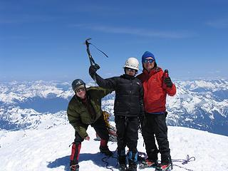 Three fourths of the summit team on top
