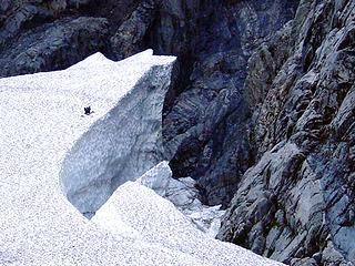 Iceclimber on B4 glacier, 12-07-02 (Ice Girl photo)