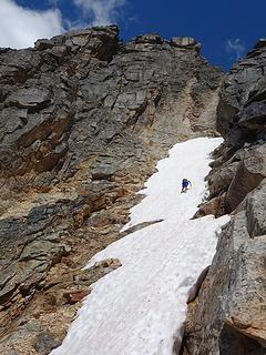 Josh descending snow off Tower