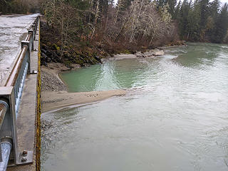 New sand spit below down valley pier and a new swimming hole