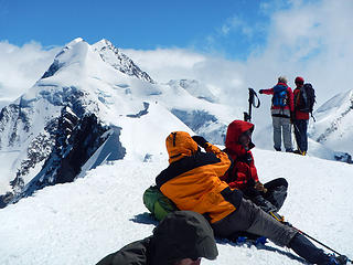 Lyskamm And A Climber Going To East Breithorn