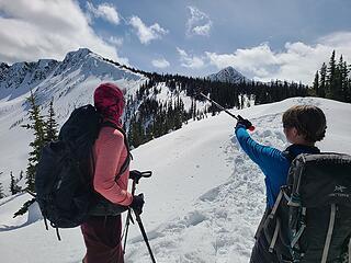 Selena and Sam admiring the easy ridge to the summit. Photo by Alper