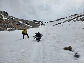 Action shot, with our glissade path above
