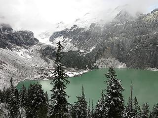 Head of Blanca Lake with glimpses of Monte Cristo & Kyes