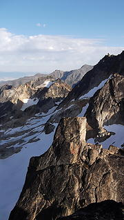 The view towards Chianti Spire and Silver Moon (T200) from the summit of Burgundy Spire.