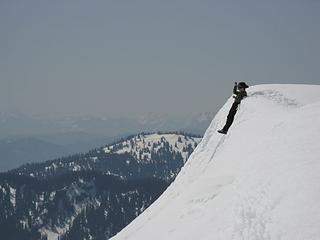 Snow sliding fun before breaking camp