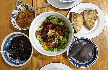 swordfish & purple yam & cranberry sauce & mango-ginger-cherry chutney & salad 122520