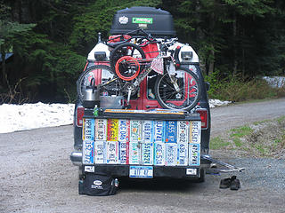 License plate collection at the Hannegan trailhead