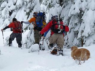 Last push to the summit of West Peak