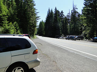 Crystal Peak trailhead parking right off highway 410 at conclusion of hike.