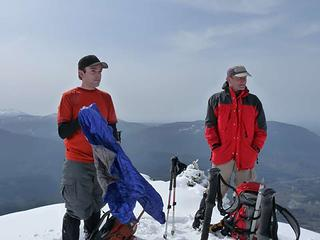 David and Barry on summit of old lookout site (West Peak of Higgins)