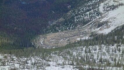 A rock glacier in the basin below