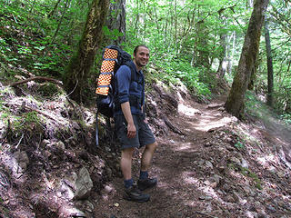 """Final uphill on the """"up and over"""" trail near road end"""
