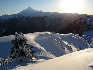 Corniced Ridge leading down to the pass
