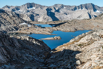 lake 11393 from the climb to thunderbolt col
