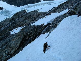 Traversing some steep snow after the slabs.