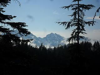 Warrior Peak center, Constance behind the tree on the left, Cloudy Peak behind the tree on the left.